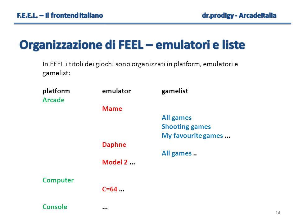 14 In FEEL i titoli dei giochi sono organizzati in platform, emulatori e gamelist: platformemulatorgamelist Arcade Mame All games Shooting games My fa