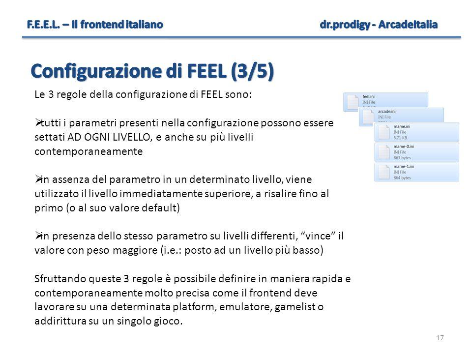 17 Le 3 regole della configurazione di FEEL sono:  tutti i parametri presenti nella configurazione possono essere settati AD OGNI LIVELLO, e anche su