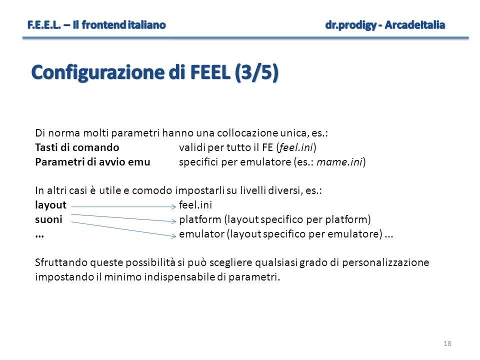 18 Di norma molti parametri hanno una collocazione unica, es.: Tasti di comandovalidi per tutto il FE (feel.ini) Parametri di avvio emuspecifici per e