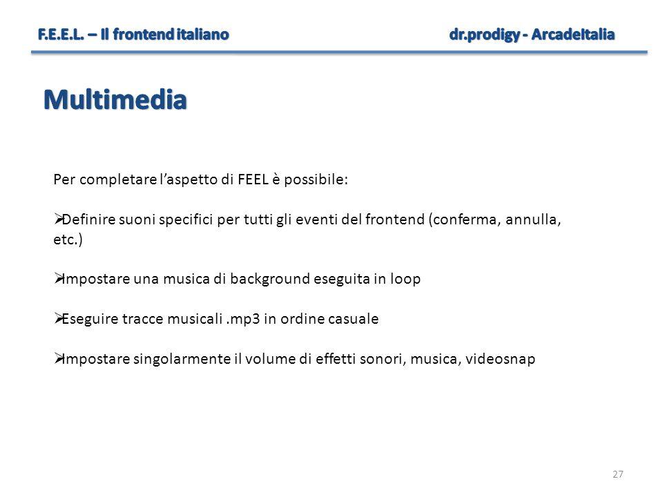 27 Per completare l'aspetto di FEEL è possibile:  Definire suoni specifici per tutti gli eventi del frontend (conferma, annulla, etc.)  Impostare un