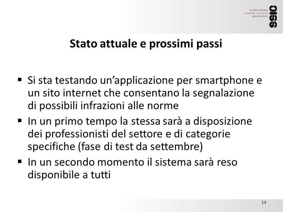 Stato attuale e prossimi passi 15.00  Si sta testando un'applicazione per smartphone e un sito internet che consentano la segnalazione di possibili i