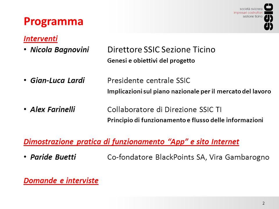 Programma 15.00 2 Interventi Nicola Bagnovini Direttore SSIC Sezione Ticino Genesi e obiettivi del progetto Gian-Luca LardiPresidente centrale SSIC Im
