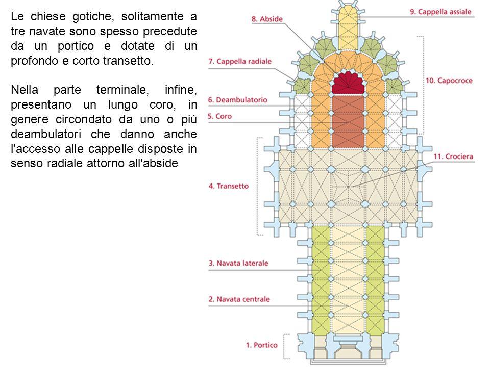 Le chiese gotiche, solitamente a tre navate sono spesso precedute da un portico e dotate di un profondo e corto transetto. Nella parte terminale, infi