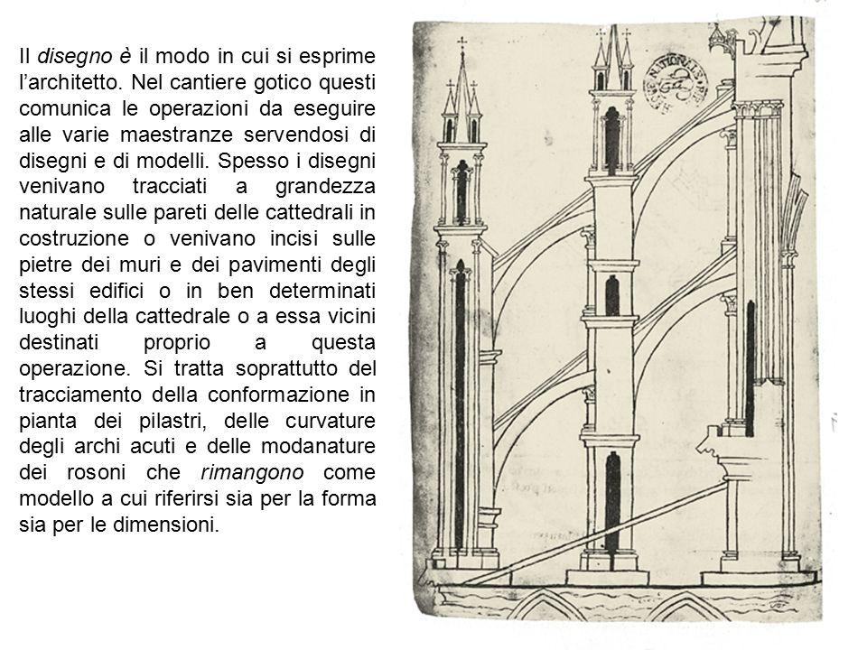 Il disegno è il modo in cui si esprime l'architetto. Nel cantiere gotico questi comunica le operazioni da eseguire alle varie maestranze servendosi di