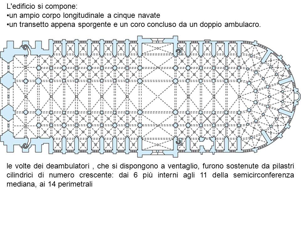 L'edificio si compone: un ampio corpo longitudinale a cinque navate un transetto appena sporgente e un coro concluso da un doppio ambulacro. le volte