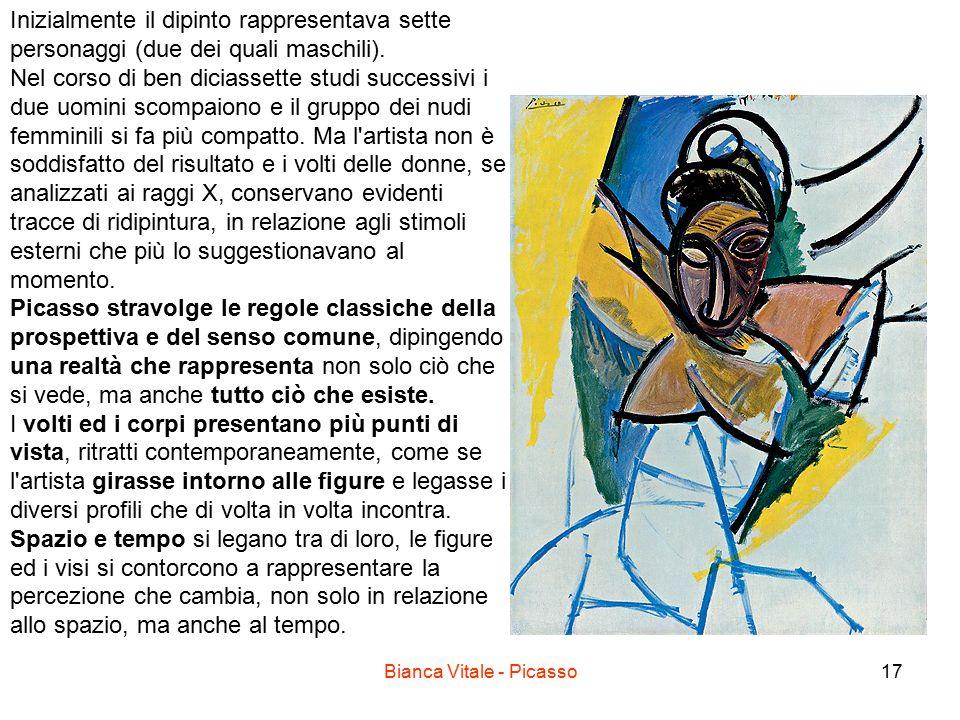 Bianca Vitale - Picasso17 Inizialmente il dipinto rappresentava sette personaggi (due dei quali maschili). Nel corso di ben diciassette studi successi