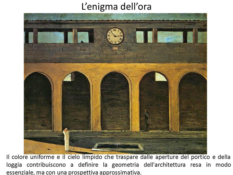 L'enigma dell'ora Il colore uniforme e il cielo limpido che traspare dalle aperture del portico e della loggia contribuiscono a definire la geometria