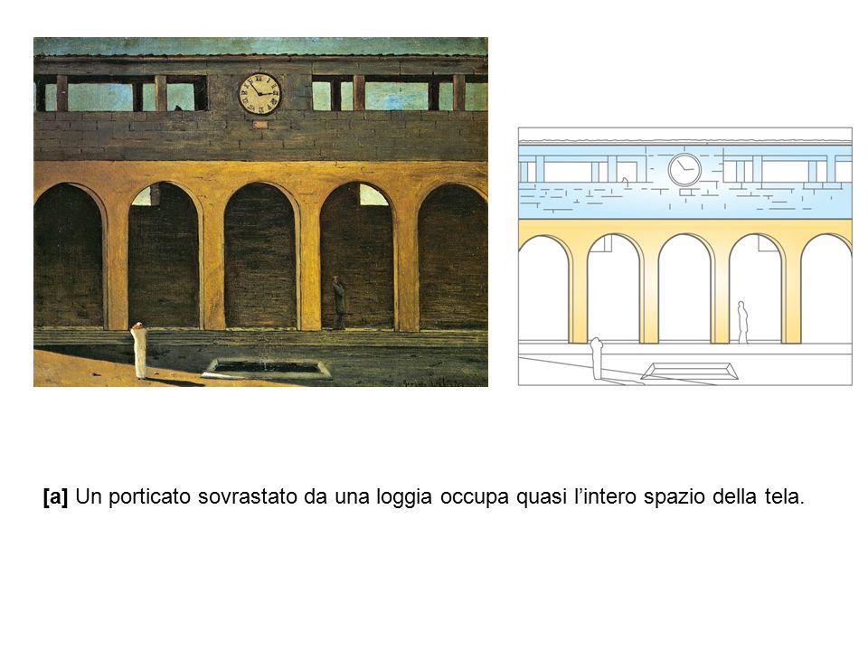 [a] Un porticato sovrastato da una loggia occupa quasi l'intero spazio della tela.