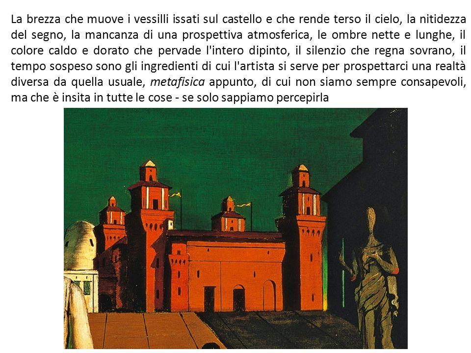 La brezza che muove i vessilli issati sul castello e che rende terso il cielo, la nitidezza del segno, la mancanza di una prospettiva atmosferica, le