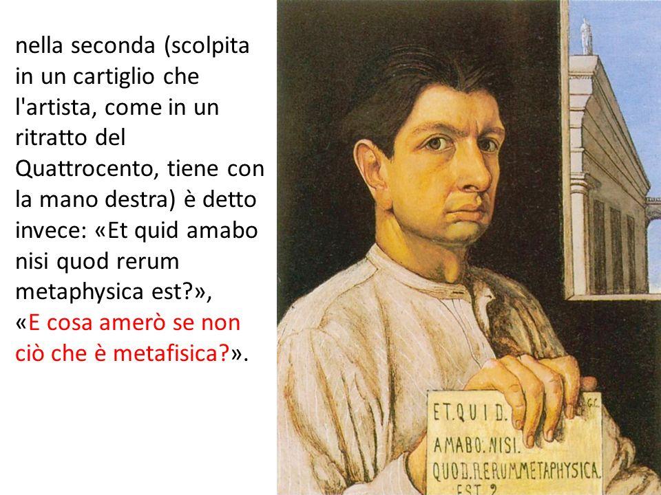 nella seconda (scolpita in un cartiglio che l'artista, come in un ritratto del Quattrocento, tiene con la mano destra) è detto invece: «Et quid amabo