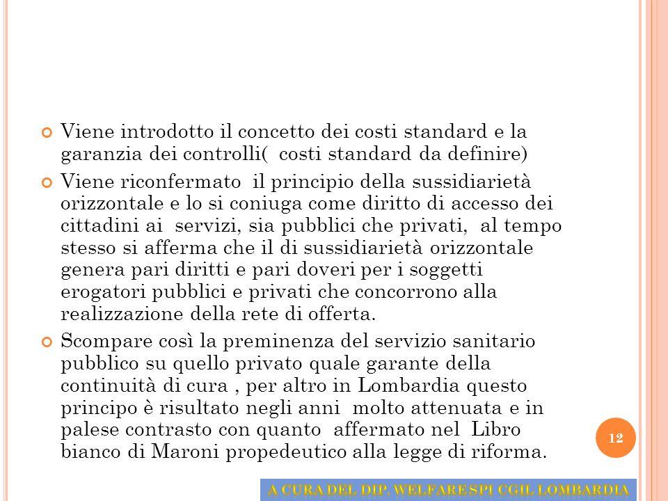 Viene introdotto il concetto dei costi standard e la garanzia dei controlli( costi standard da definire) Viene riconfermato il principio della sussidi