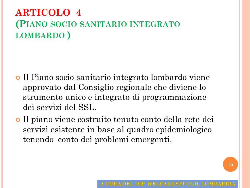 ARTICOLO 4 (P IANO SOCIO SANITARIO INTEGRATO LOMBARDO ) Il Piano socio sanitario integrato lombardo viene approvato dal Consiglio regionale che divien