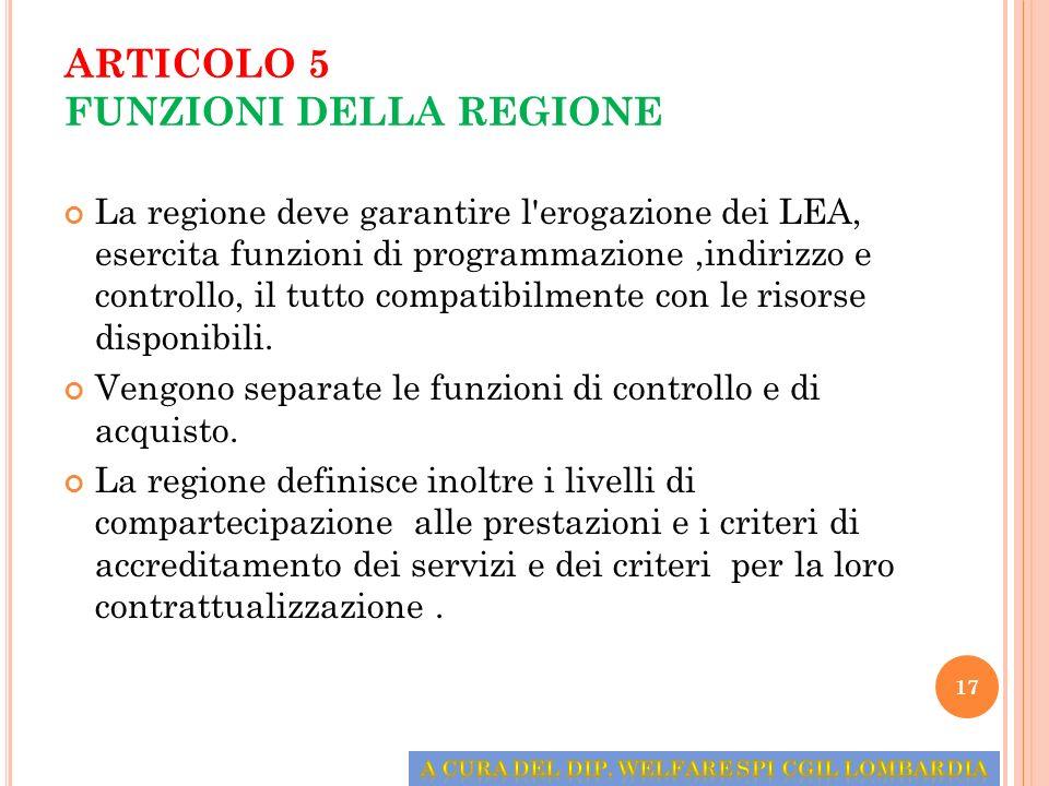 ARTICOLO 5 FUNZIONI DELLA REGIONE La regione deve garantire l'erogazione dei LEA, esercita funzioni di programmazione,indirizzo e controllo, il tutto