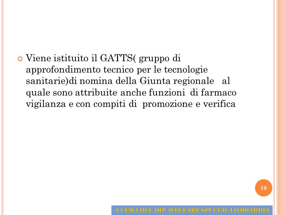 Viene istituito il GATTS( gruppo di approfondimento tecnico per le tecnologie sanitarie)di nomina della Giunta regionale al quale sono attribuite anch