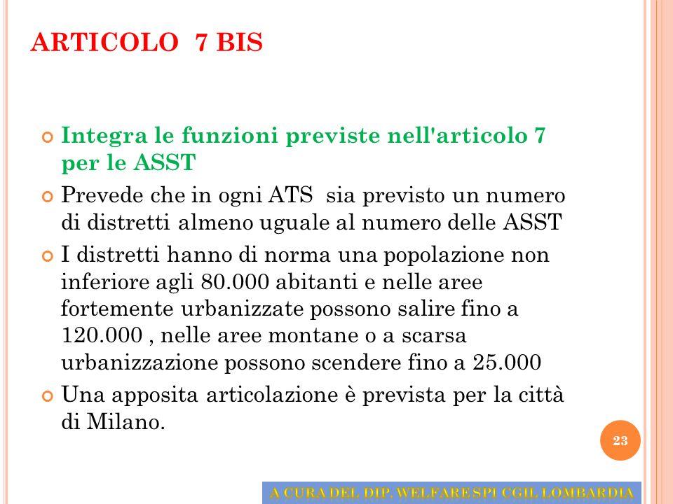 ARTICOLO 7 BIS Integra le funzioni previste nell'articolo 7 per le ASST Prevede che in ogni ATS sia previsto un numero di distretti almeno uguale al n