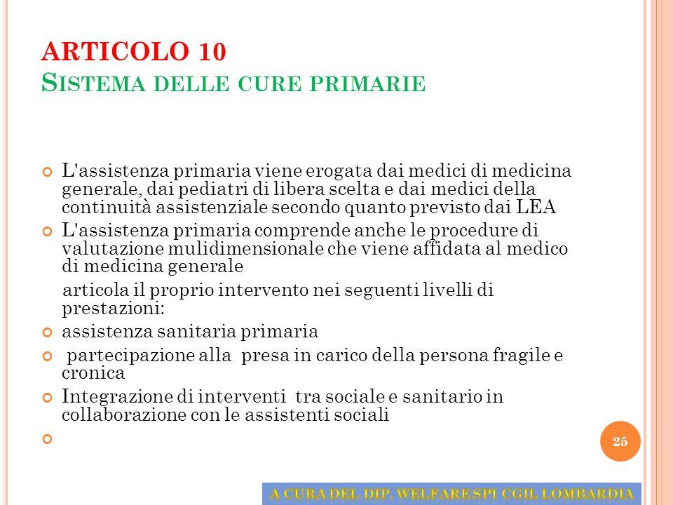 ARTICOLO 10 S ISTEMA DELLE CURE PRIMARIE L'assistenza primaria viene erogata dai medici di medicina generale, dai pediatri di libera scelta e dai medi
