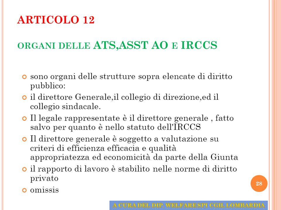ARTICOLO 12 ORGANI DELLE ATS,ASST AO E IRCCS sono organi delle strutture sopra elencate di diritto pubblico: il direttore Generale,il collegio di dire