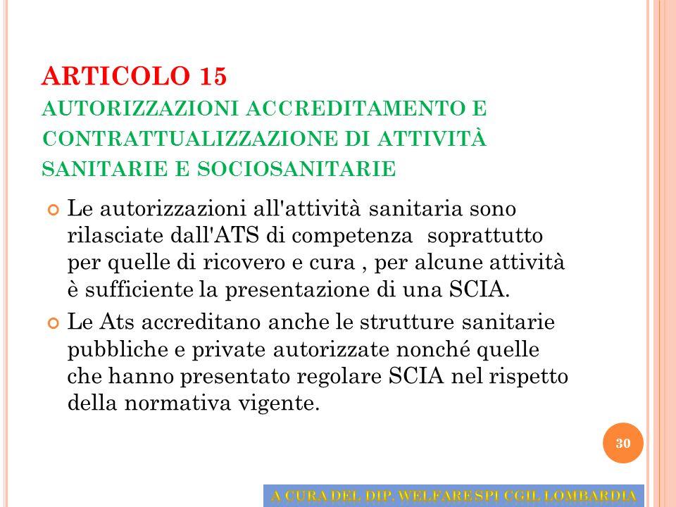 ARTICOLO 15 AUTORIZZAZIONI ACCREDITAMENTO E CONTRATTUALIZZAZIONE DI ATTIVITÀ SANITARIE E SOCIOSANITARIE Le autorizzazioni all'attività sanitaria sono