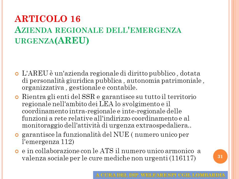 ARTICOLO 16 A ZIENDA REGIONALE DELL ' EMERGENZA URGENZA (AREU) L'AREU è un'azienda regionale di diritto pubblico, dotata di personalità giuridica pubb