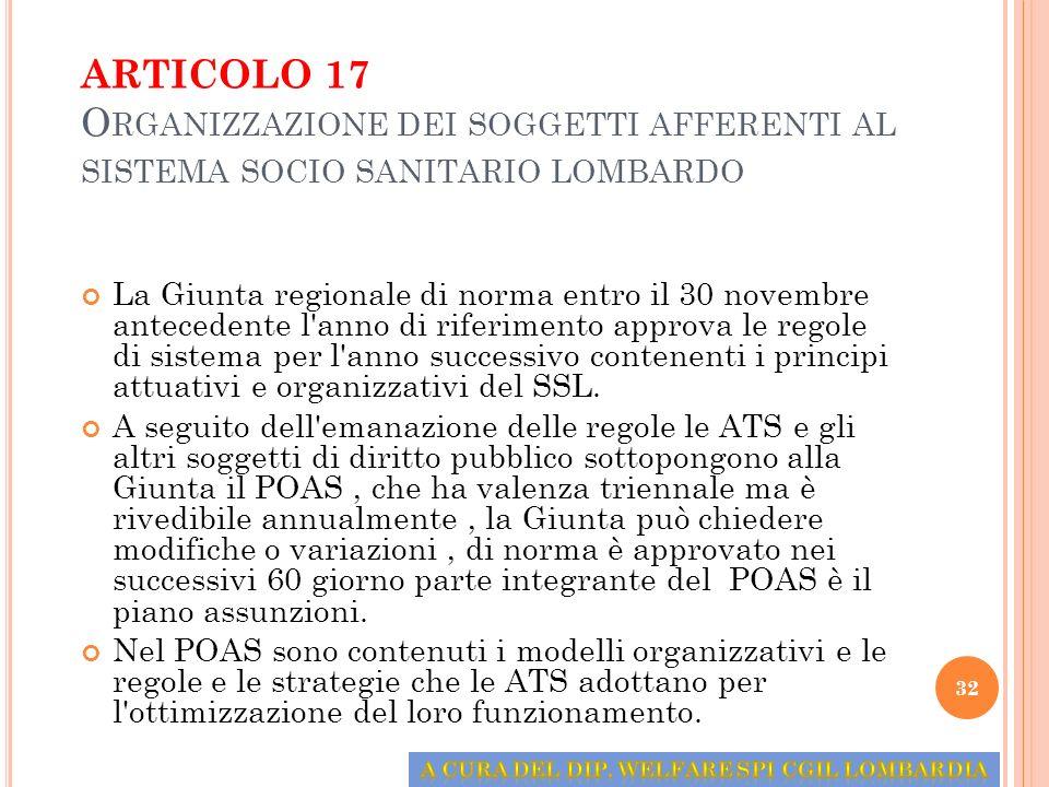 ARTICOLO 17 O RGANIZZAZIONE DEI SOGGETTI AFFERENTI AL SISTEMA SOCIO SANITARIO LOMBARDO La Giunta regionale di norma entro il 30 novembre antecedente l