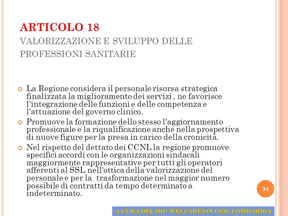 ARTICOLO 18 VALORIZZAZIONE E SVILUPPO DELLE PROFESSIONI SANITARIE La Regione considera il personale risorsa strategica finalizzata la miglioramento de