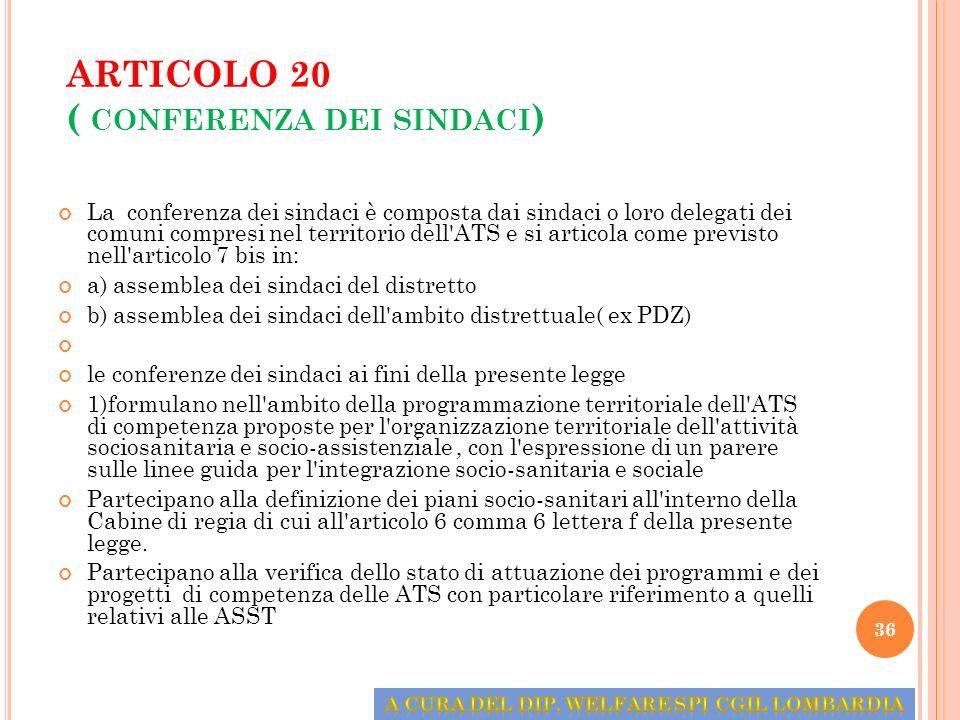 ARTICOLO 20 ( CONFERENZA DEI SINDACI ) La conferenza dei sindaci è composta dai sindaci o loro delegati dei comuni compresi nel territorio dell'ATS e
