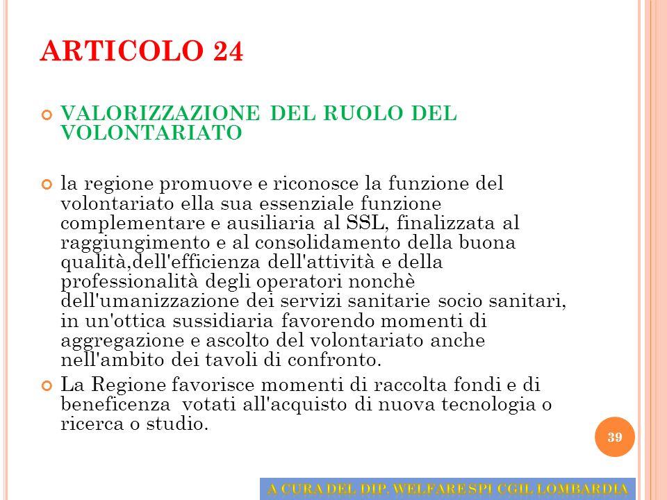 ARTICOLO 24 VALORIZZAZIONE DEL RUOLO DEL VOLONTARIATO la regione promuove e riconosce la funzione del volontariato ella sua essenziale funzione comple