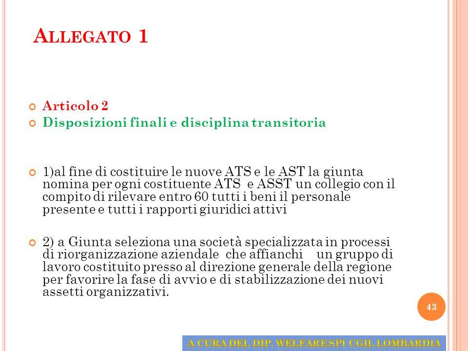 A LLEGATO 1 Articolo 2 Disposizioni finali e disciplina transitoria 1)al fine di costituire le nuove ATS e le AST la giunta nomina per ogni costituent