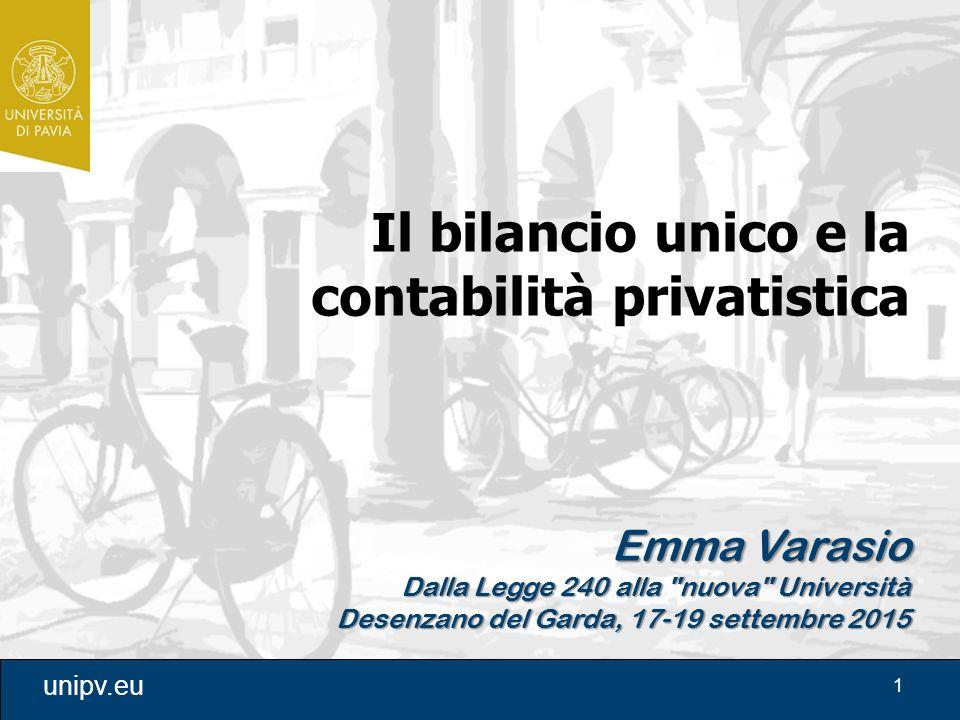 1 unipv.eu Il bilancio unico e la contabilità privatistica Emma Varasio Dalla Legge 240 alla