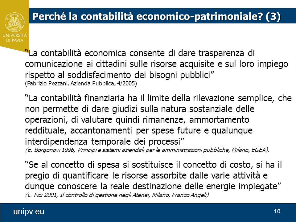 """10 unipv.eu """"La contabilità economica consente di dare trasparenza di comunicazione ai cittadini sulle risorse acquisite e sul loro impiego rispetto a"""