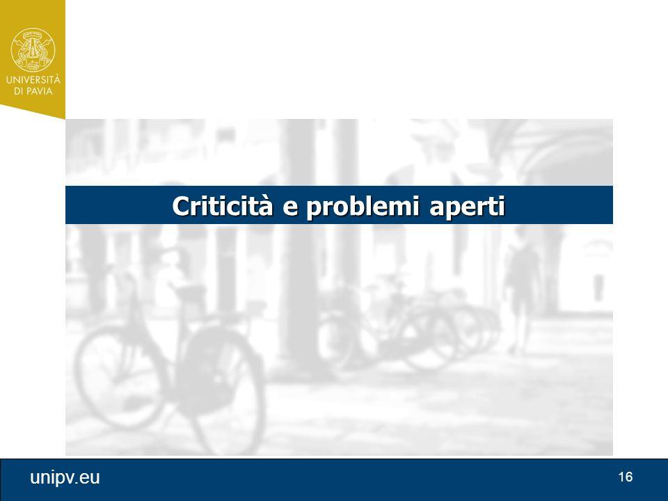 16 unipv.eu Criticità e problemi aperti