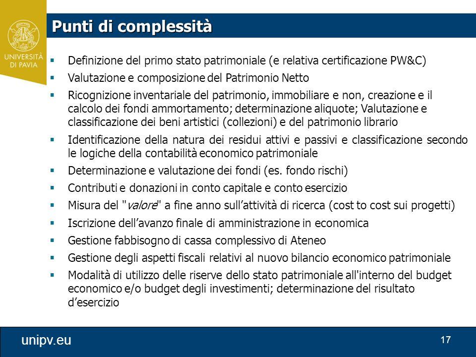 17 unipv.eu Punti di complessità  Definizione del primo stato patrimoniale (e relativa certificazione PW&C)  Valutazione e composizione del Patrimon