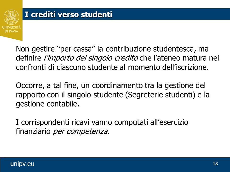 """18 unipv.eu Non gestire """"per cassa"""" la contribuzione studentesca, ma definire l'importo del singolo credito che l'ateneo matura nei confronti di ciasc"""