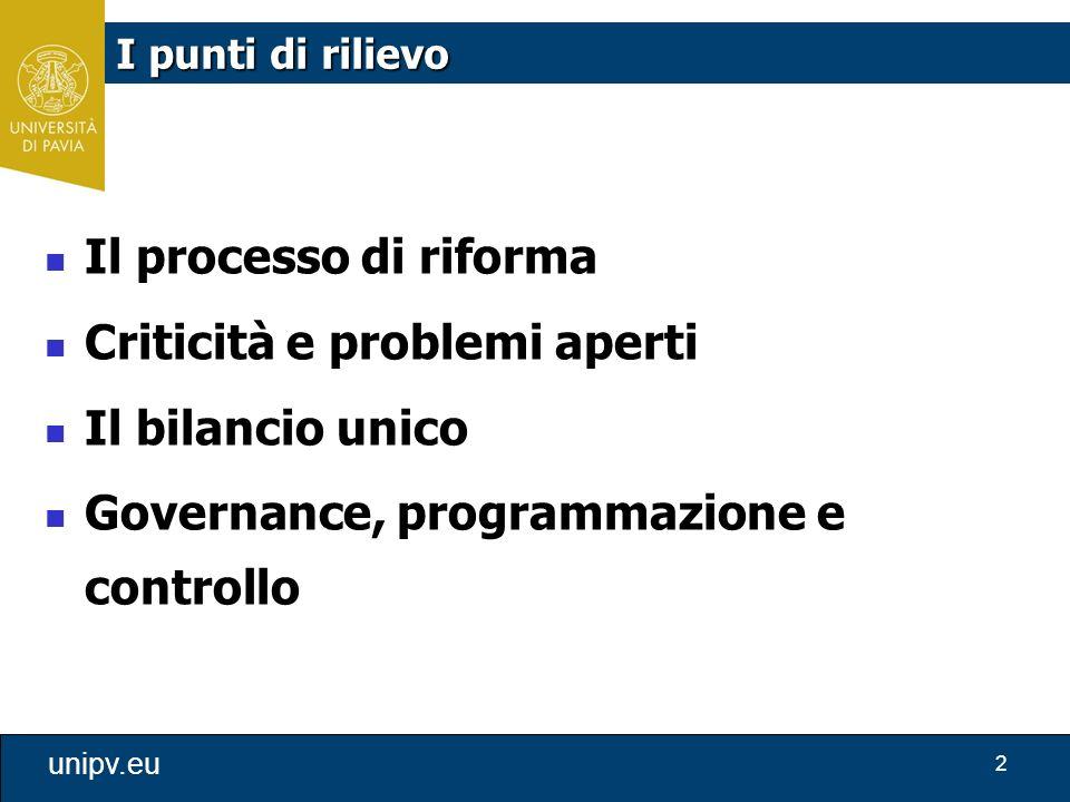 2 unipv.eu Il processo di riforma Criticità e problemi aperti Il bilancio unico Governance, programmazione e controllo I punti di rilievo