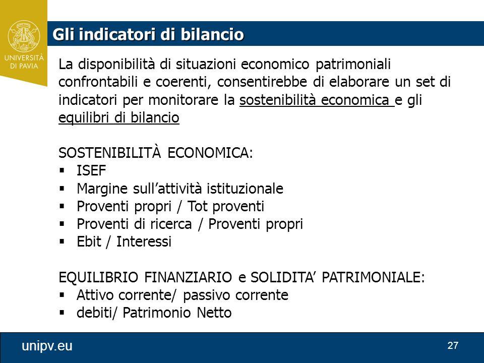 27 unipv.eu La disponibilità di situazioni economico patrimoniali confrontabili e coerenti, consentirebbe di elaborare un set di indicatori per monito