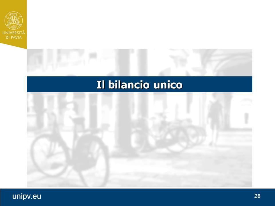 28 unipv.eu Il bilancio unico