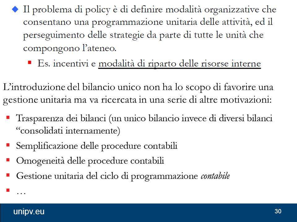 30 unipv.eu L'introduzione del bilancio unico non ha lo scopo di favorire una gestione unitaria ma va ricercata in una serie di altre motivazioni: