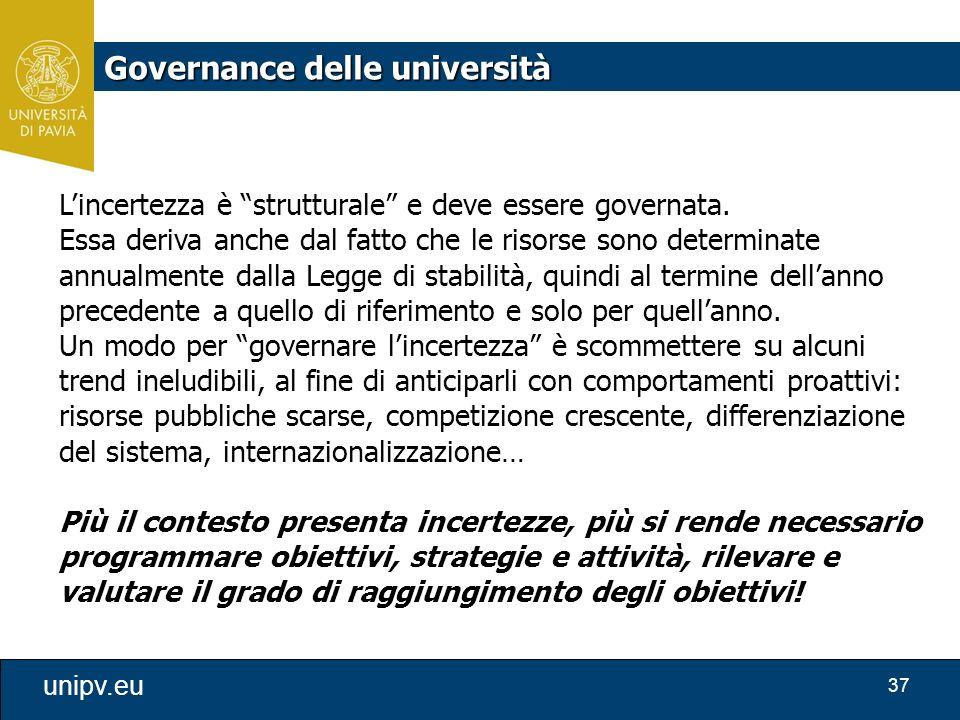 """37 unipv.eu L'incertezza è """"strutturale"""" e deve essere governata. Essa deriva anche dal fatto che le risorse sono determinate annualmente dalla Legge"""