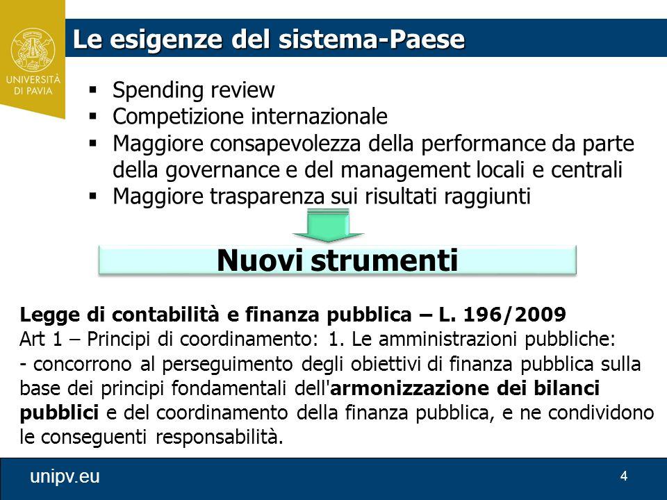 4 unipv.eu Legge di contabilità e finanza pubblica – L. 196/2009 Art 1 – Principi di coordinamento: 1. Le amministrazioni pubbliche: - concorrono al p