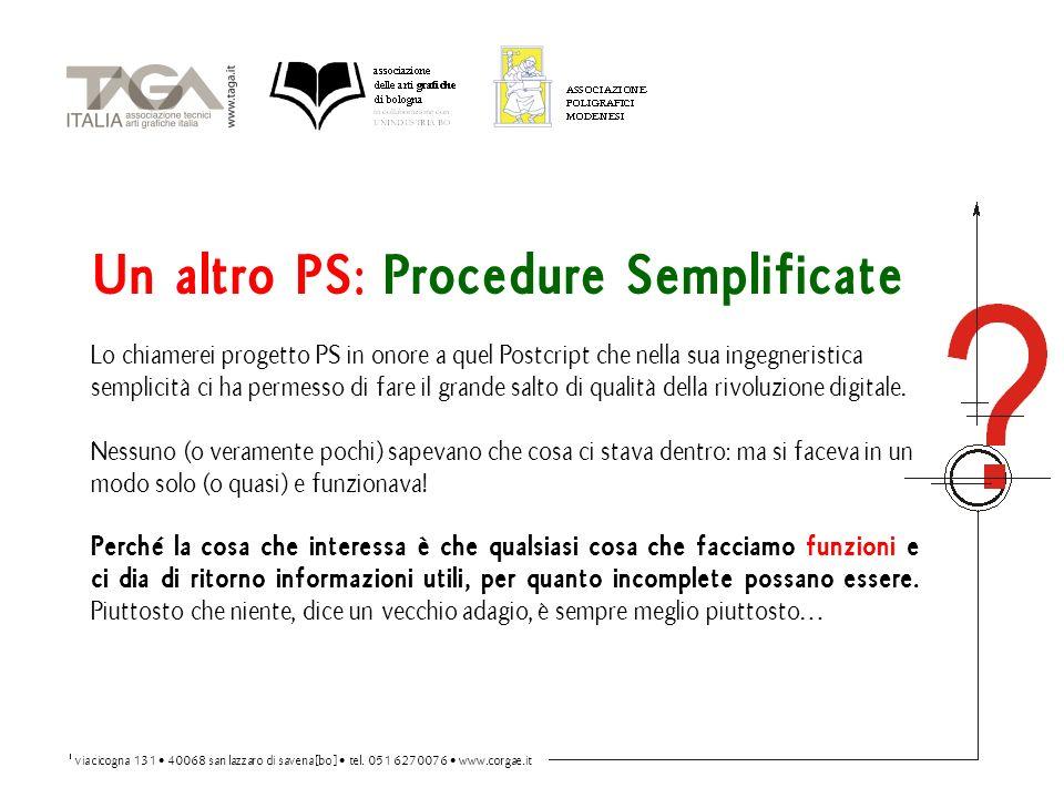 Un altro PS: Procedure Semplificate Lo chiamerei progetto PS in onore a quel Postcript che nella sua ingegneristica semplicità ci ha permesso di fare il grande salto di qualità della rivoluzione digitale.