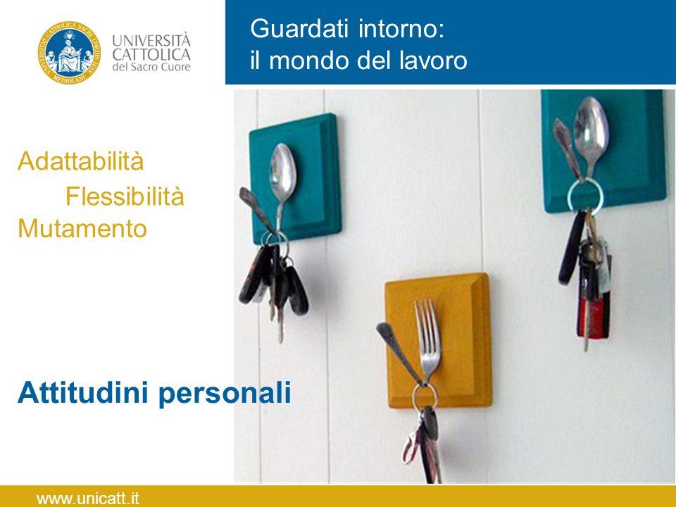 Guardati intorno: il mondo del lavoro Flessibilità Adattabilità Mutamento www.unicatt.it Attitudini personali