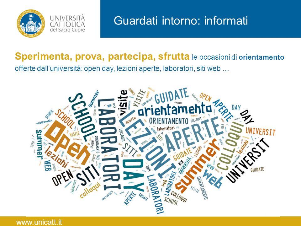 Guardati intorno: informati Sperimenta, prova, partecipa, sfrutta le occasioni di orientamento offerte dall'università: open day, lezioni aperte, labo