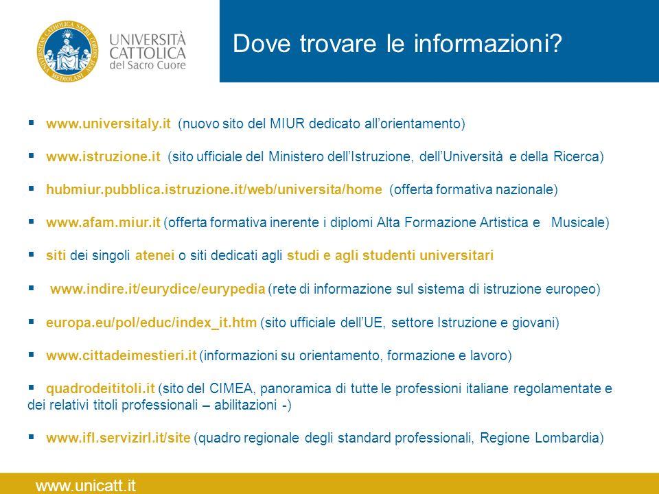  www.universitaly.it (nuovo sito del MIUR dedicato all'orientamento)  www.istruzione.it (sito ufficiale del Ministero dell'Istruzione, dell'Universi