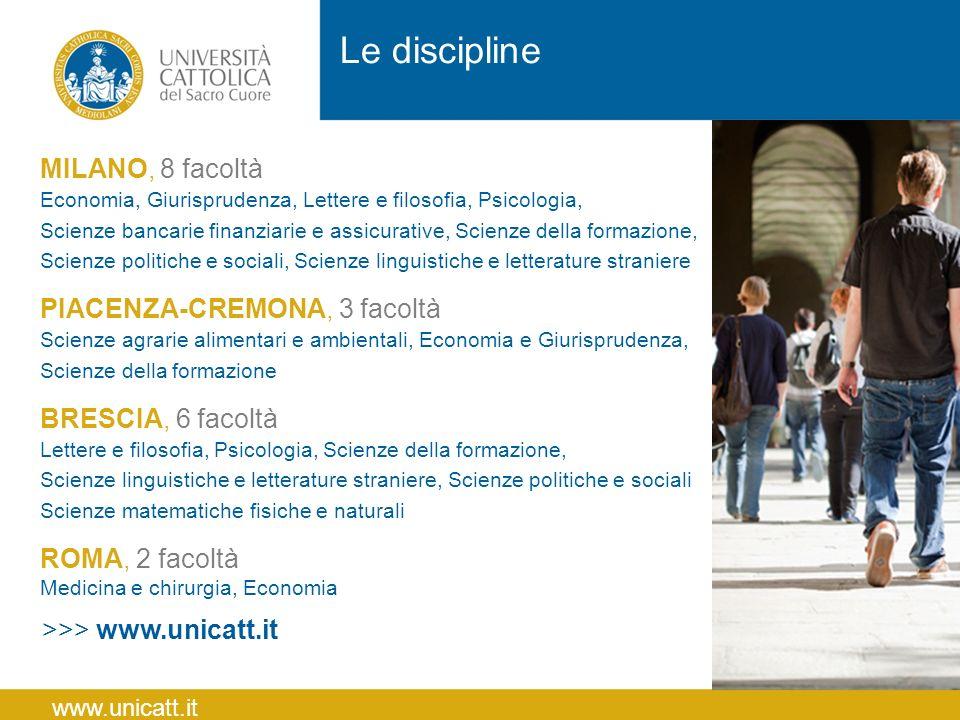 MILANO, 8 facoltà Economia, Giurisprudenza, Lettere e filosofia, Psicologia, Scienze bancarie finanziarie e assicurative, Scienze della formazione, Sc