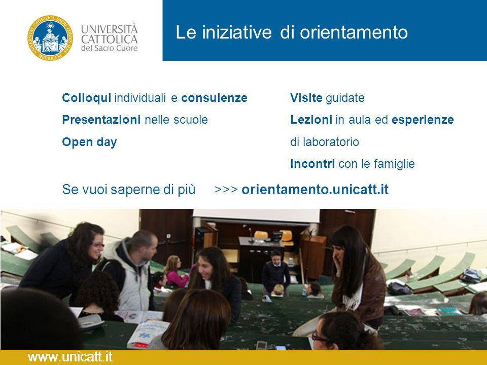 Colloqui individuali e consulenze Presentazioni nelle scuole Open day Le iniziative di orientamento Se vuoi saperne di più >>> orientamento.unicatt.it