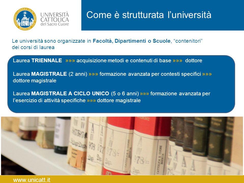 """Come è strutturata l'università www.unicatt.it Le università sono organizzate in Facoltà, Dipartimenti o Scuole, """"contenitori"""" dei corsi di laurea Lau"""
