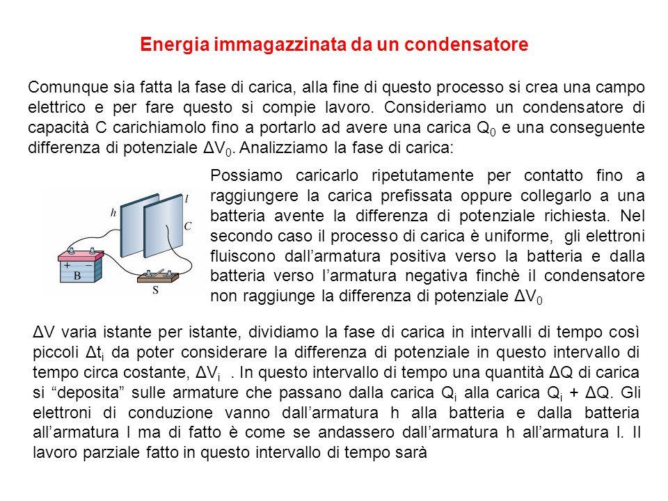 Energia immagazzinata da un condensatore Comunque sia fatta la fase di carica, alla fine di questo processo si crea una campo elettrico e per fare questo si compie lavoro.