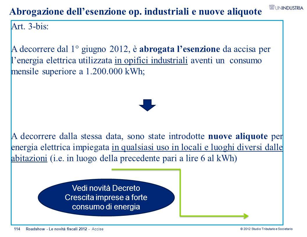 Art. 3-bis: A decorrere dal 1° giugno 2012, è abrogata l'esenzione da accisa per l'energia elettrica utilizzata in opifici industriali aventi un consu
