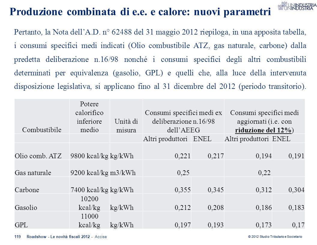 © 2012 Studio Tributario e Societario 119Roadshow - Le novità fiscali 2012 - Accise Pertanto, la Nota dell'A.D. n° 62488 del 31 maggio 2012 riepiloga,