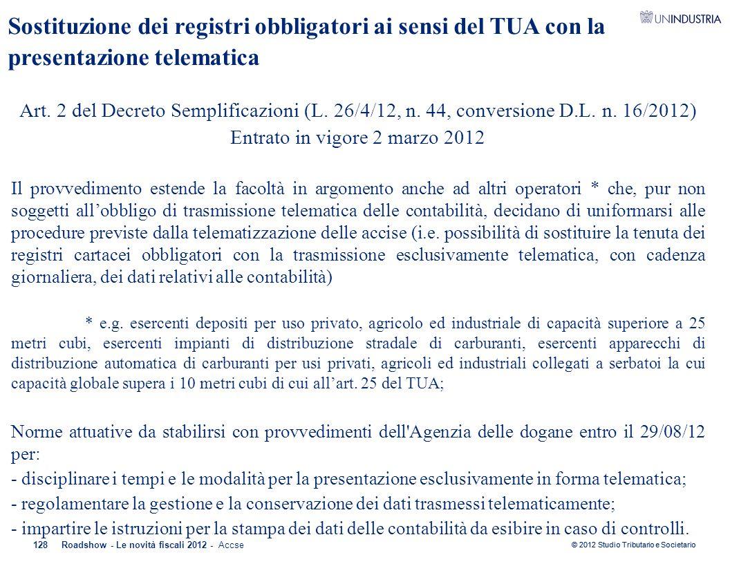 © 2012 Studio Tributario e Societario Sostituzione dei registri obbligatori ai sensi del TUA con la presentazione telematica Art. 2 del Decreto Sempli